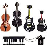 LEIZHAN 5x8GB USB メモリ・フラッシュドライブ楽器USB 2.0メモリースティックPendrive(イエローギター、レッドギター、チェロ、ヴァイオリン、ピアノ)