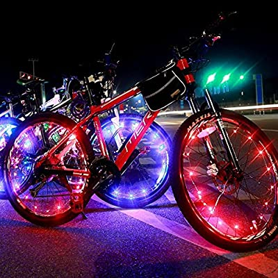 DAWAY A01 Waterproof Bike Wheel Lights - 20 LED Colorful Lightweight Light Strip for Bicycle Spokes or Rim - Cool Tire Accessories Best Christmas Gifts(1 Year Warranty)