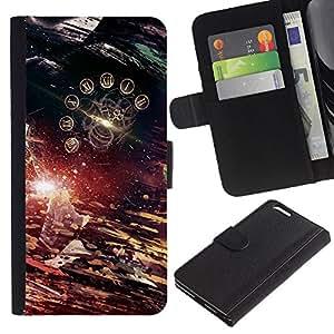 LECELL--Cuero de la tarjeta la carpeta del tirón Smartphone Slots Protección Holder For Apple Iphone 6 PLUS 5.5 -- Tiempo abstracto --
