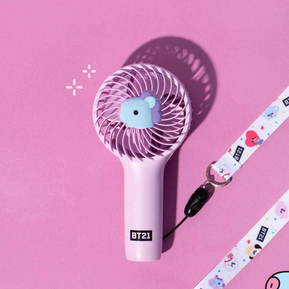 para fan/áticos de BTS Bangtan Boys producto oficial,Chimmy 3 configuraciones BTS Mute Hand Fan Ventilador USB recargable