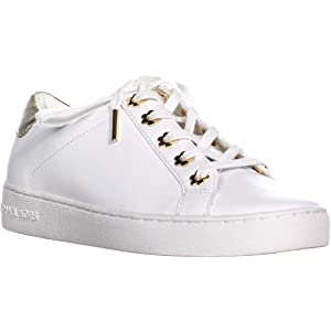 830df1ea0f6a Michael Kors Women s Irving Lace Up Leather Black Sneakers Opt Gold