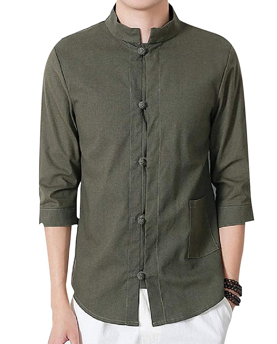 YUNY Mens Classic Fit Kung Fu Cotton Linen Pure Color Dress Shirt Blackish Green XL