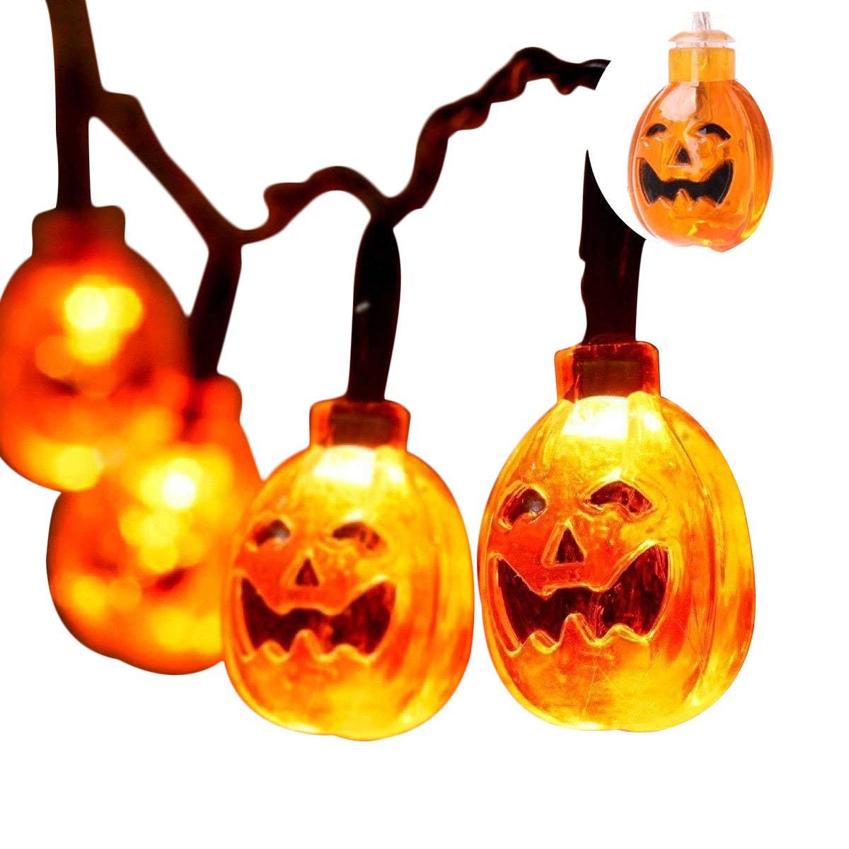 Lightter Pumpkin String Light, Halloween String Light with 20 LED Lights 16ft-2 Modes Battery Operated, 3D Jack-O-Lantern String Light for Outdoor,Home,Patio,Garden Deco, Warm White