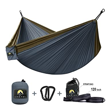 Lhotse 2 Person Double Hammock - 120 (L) x 80 (W), 1000lbs Strong Capacity, 120  Long Tree Straps, Lightweight Parachute Nylon Hammock for Backpacking, Travel, Camping, Beach, Backyard