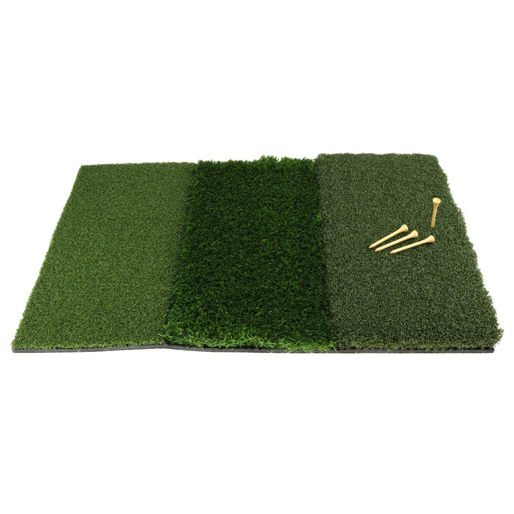 Baosity 3 in 1 Portable Golf Hitting Practice Mat with Tee Holder for Backyard & Indoor Training Aid Equipment