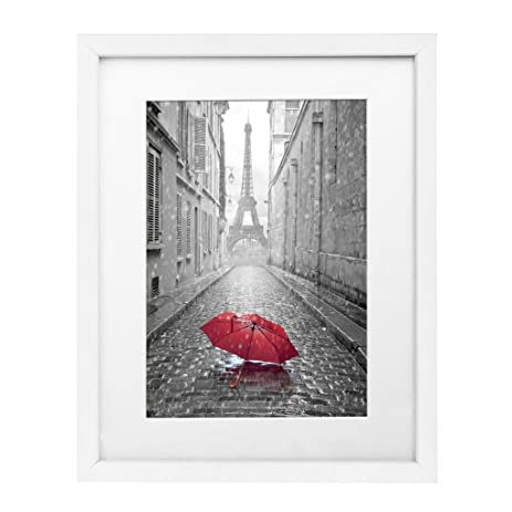 11x14 white wall picture frame made to display pictures 8x10 with mat or 11x14 without - White Frame With Mat