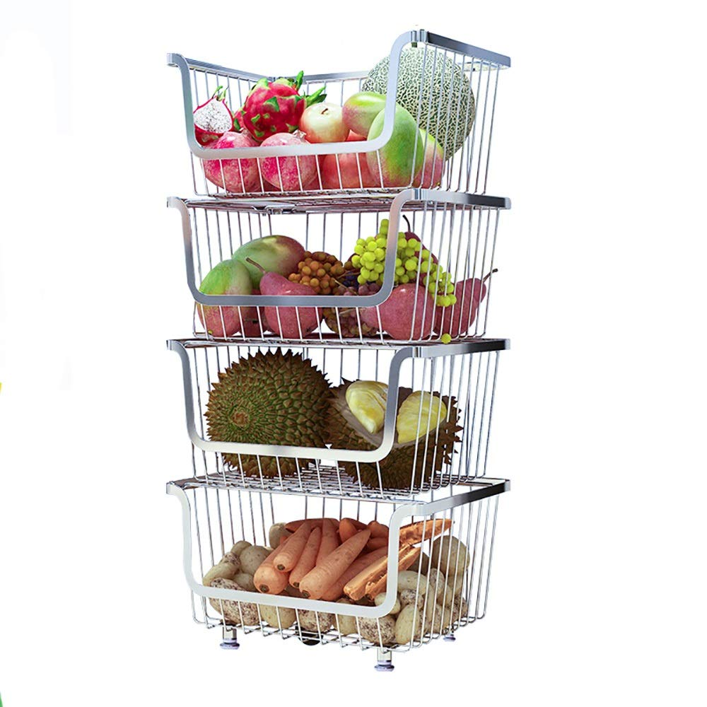 Detachable rolling metal making storage rack/kitchen sideboard assembly box pulley, with armrests, convenient, large space frame. (Size : Layer 4)