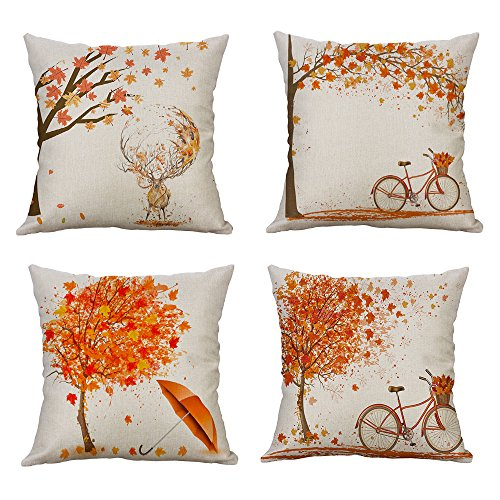 Autumn Leaves Pillow - MIULEE Pack of 4 Decorative Autumn Fall Style Throw Pillow Cover Maple Leaf Bicyle Tree Cushion Case Shell Outdoor Pillow Case for Car Sofa Bed Couch 18 x 18 Inch