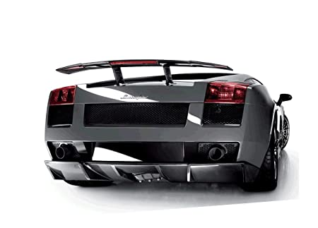 Lamborghini Silver Gallardo Rear View A1 Xlarge Framed Canvas Art