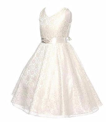 6507d21016c74 Shop Ginger Wedding Flower Girl Dress Lace Bow Children Communion D19   Amazon.co.