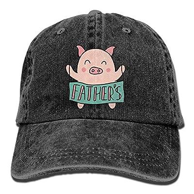 SUJV-T9 Retro Denim Cap Hat Cartoon Pig Adjustable Sports Baseball Hat for Adults Unisex