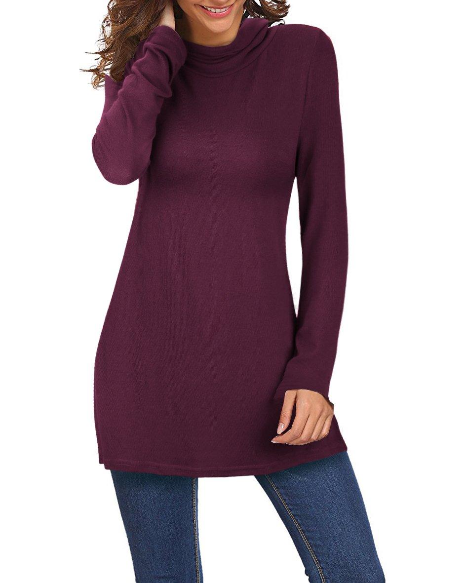 KILIG Women's Long Sleeve Turtleneck Hankerchief Hem Loose Casual Sweater Tunic Tops(Wine,XL)