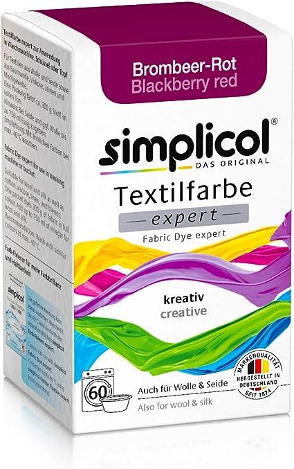 Simplicol Expert Fabric Dye Tinte de Coloración para Textiles: Lavado a Mano o Lavadora - Tiñe y Restaura Sus Telas y Ropa - Blackberry Red Rojo