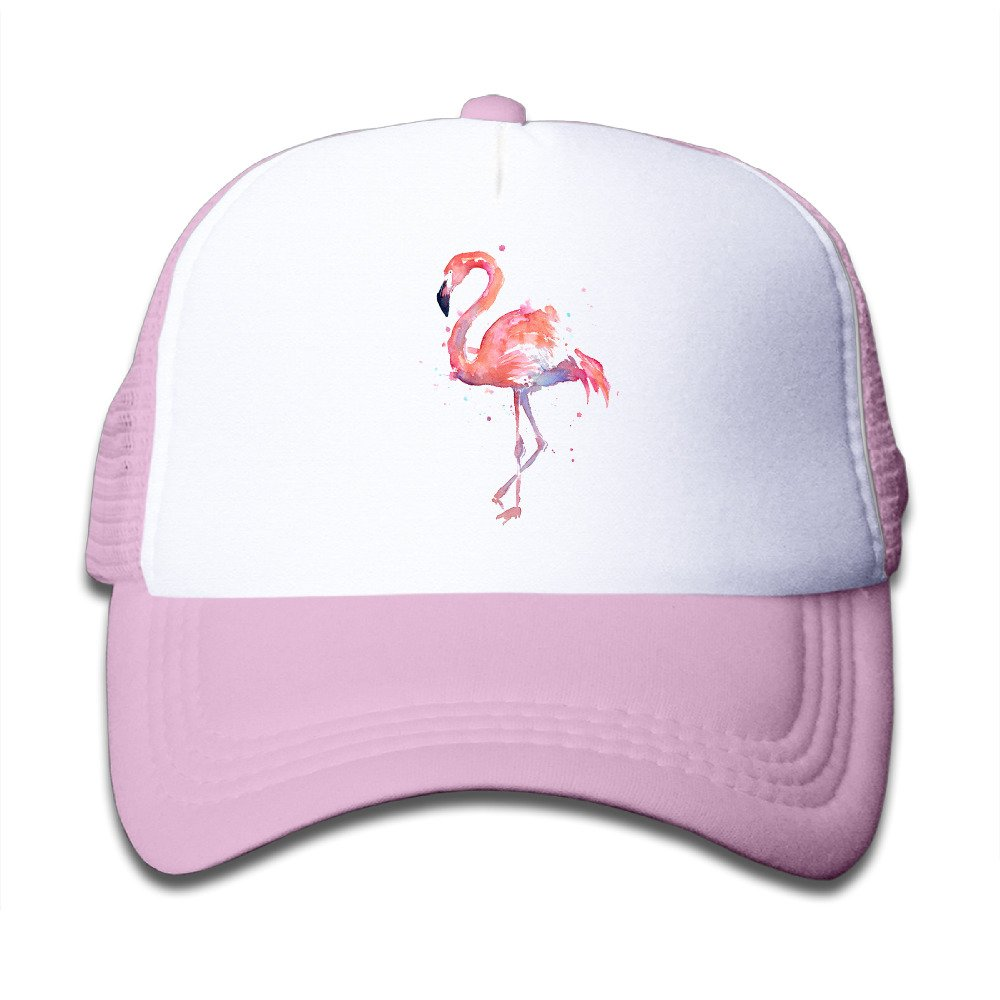 LoKIDve Watercolor Flamingo Boys Girls Mesh Cap Baseball Hat Cap Adjustable Black