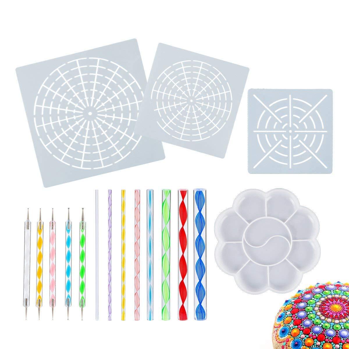 17PCS Mandala Dotting Tools Stencil Set for Painting Rocks Drawing & Drafting, Kids' Crafts, Nail Art, Painting