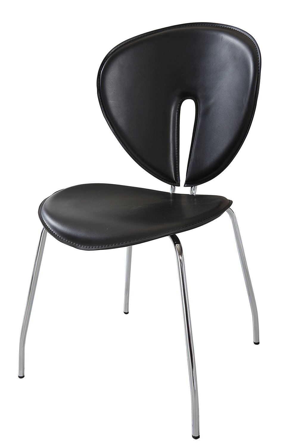 Modern Line Furniture 942Bx4 Contemporary Stackable Dining Room Chairs with Brush Chrome Bases for Restaurant/Bar/Nightclub/Hospitality Furniture, Black (Pack of 4)