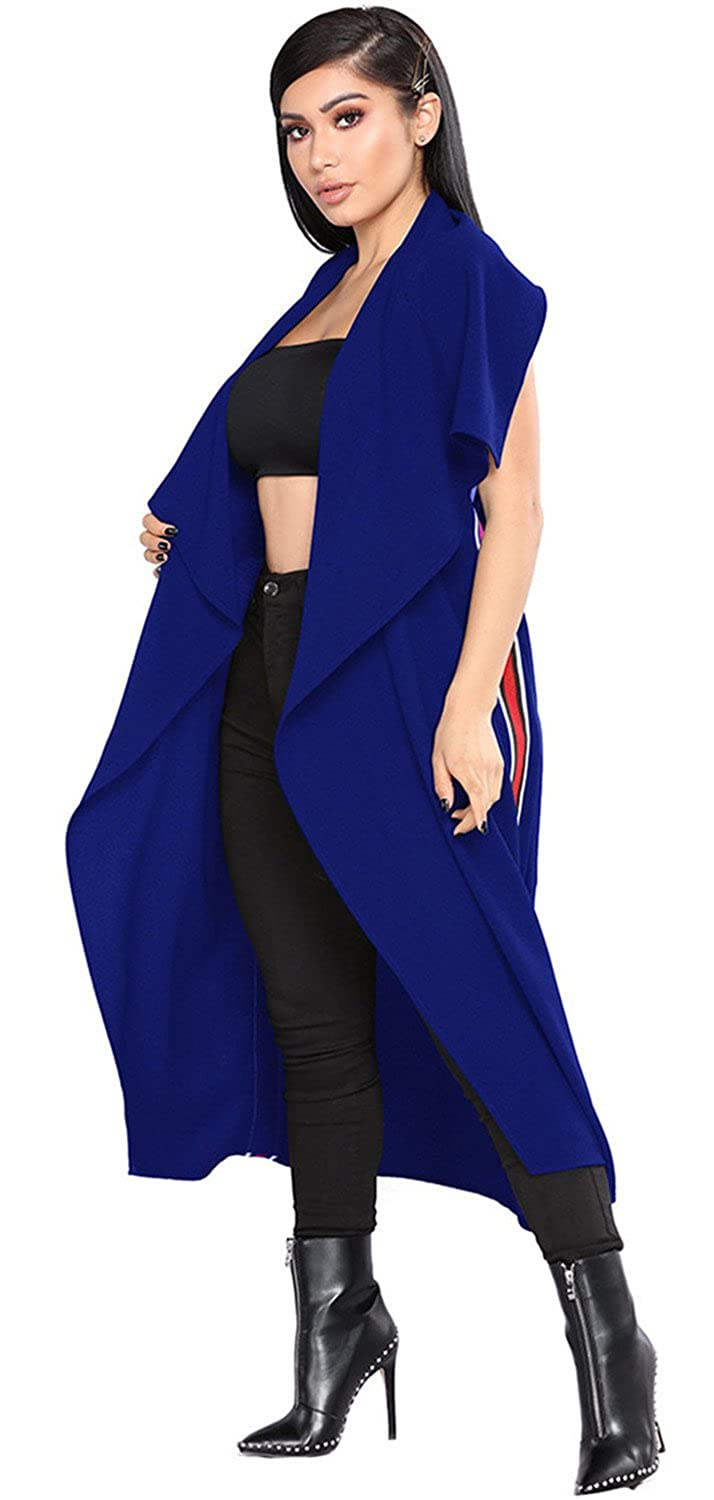 Arctic Cubic Sleeveless Wrap Front Waterfall Collar Varsity Stripe Side Vest Duster Trench Coat Top