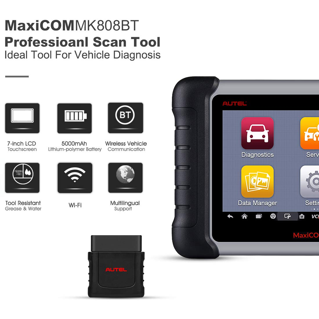 Autel OBD2 Scanner MaxiCOM MK808BT Diagnostic Tool, Upgraded Version of MK808, with MaxiVCI Supports Full System Scan & IMMO/EPB/SAS/BMS/TPMS/DPF by Autel (Image #6)