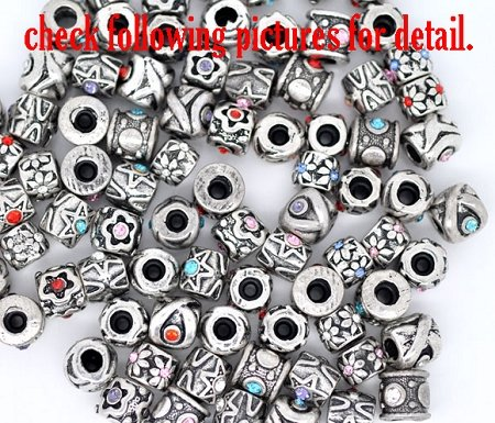 Pack of Ten (10) European Style Assorted Rhinestone Design Focal Rubber Stopper Charm Beads