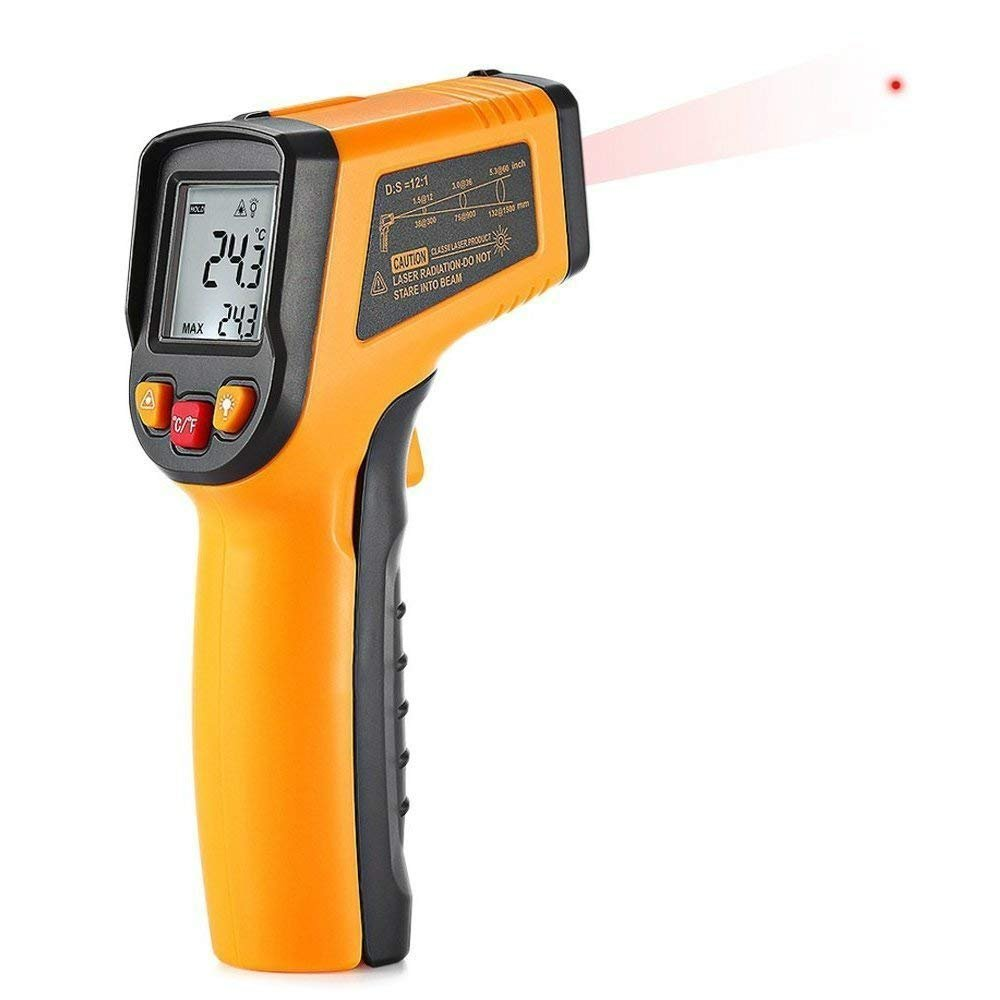 Infrared Thermometer,non-contact digital laser infrared thermometer,-58℉~1112℉(-50°C to +600°C)Temperature Gun with Adjustable Emissivity & Max Measure for Meat/Refrigerator/ Pool/Oven