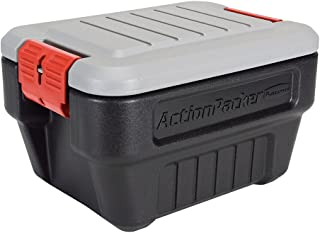 product image for Rubbermaid ActionPacker Lockable Storage Box, 8 Gallon, Grey and Black (1949040)