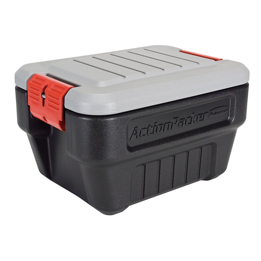 Rubbermaid ActionPacker Lockable Storage Box, 8 Gallon, Grey and Black (1949040)