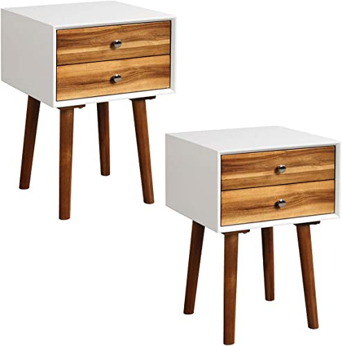 Giantex End Table W/Drawers and Storage Wooden Mid-Century Accent Side Table Multipurpose