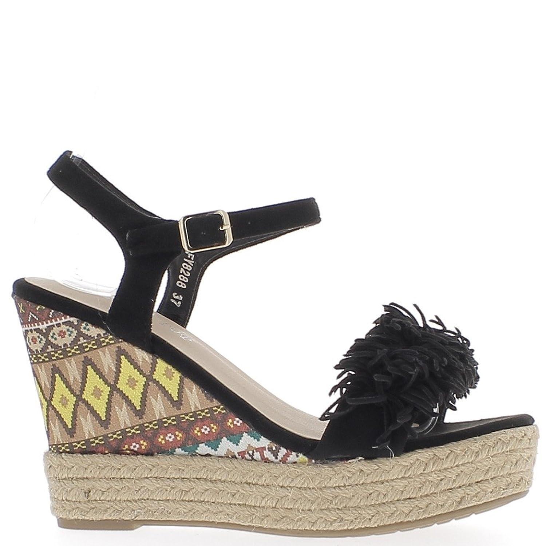 Tacchi neri zeppa sandali 11 cm con frangia e piattaforma