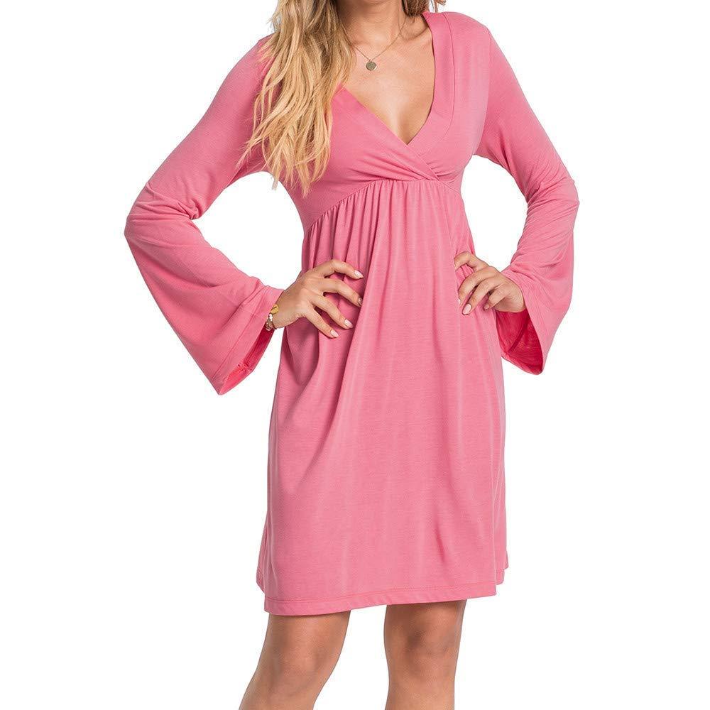 FuweiEncore Vestido Plisado de Cintura Alta con Volantes y Manga Larga Acampanada (Color : Rosado, tamaño : Medium): Amazon.es: Hogar