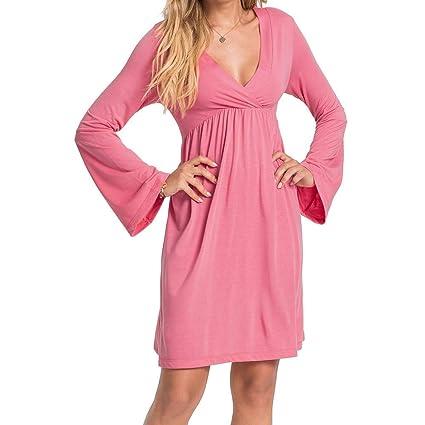 Qiusa Vestido Plisado de Cintura Alta con Volantes y Manga Larga Acampanada (Color : Rosado