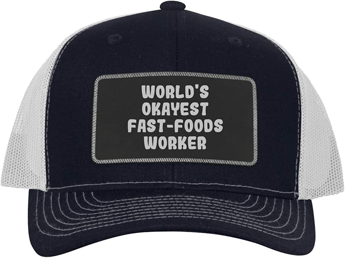 One Legging it Around World's Okayest Fast-Foods Worker - Leather Black Patch Engraved Trucker Hat