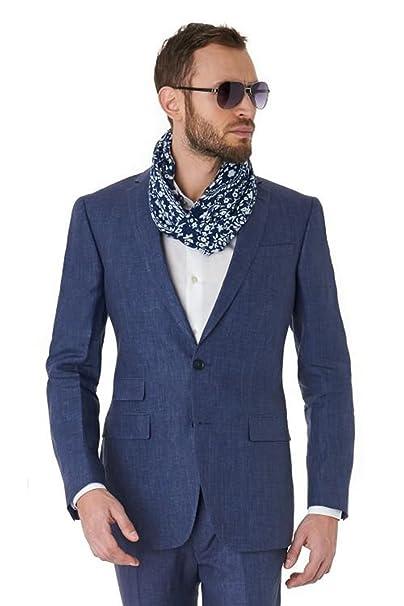 Amazon.com: 2 piezas de trajes de lino azul marino para ...