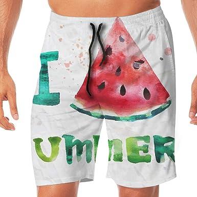 db117305da3d9 Watercolor Watermelon Men's Swim Trunks Quick Dry Board Shorts Bathing  Suits Swimwear Volley Beach Trunks White
