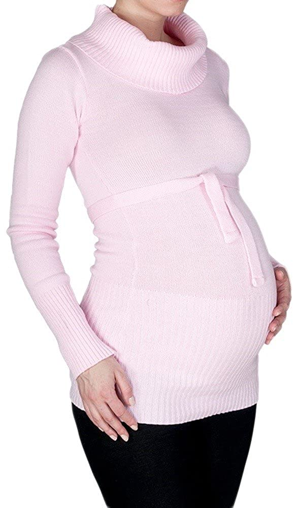 358p Womens Maternity Stretchy Jumper Tunic Pullover Turtle Neck Happy Mama
