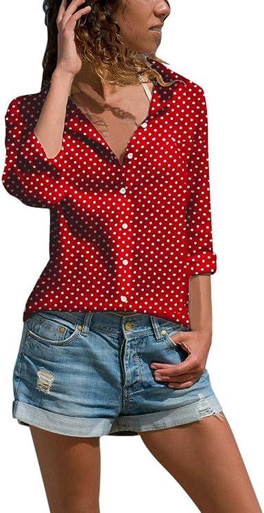 Camisa Larga Mujer Tops Deportivos Fiesta Sexy Moda Blusa Manga para Blusa con Botones con Estampado Puntos CóModos Estilo OtoñO: Amazon.es: Ropa y accesorios