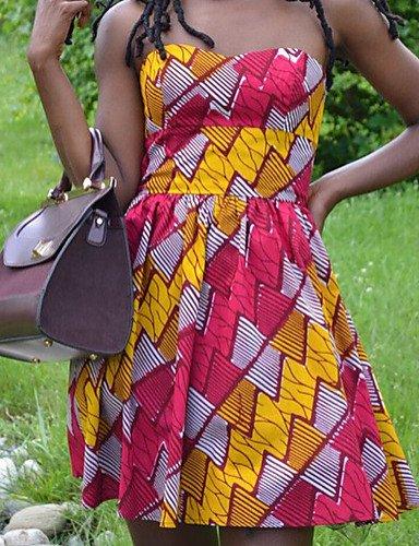 PU&PU Robe Aux femmes Gaine Simple,Imprimé Sans Bretelles Au dessus du genou Polyester , yellow-xl , yellow-xl