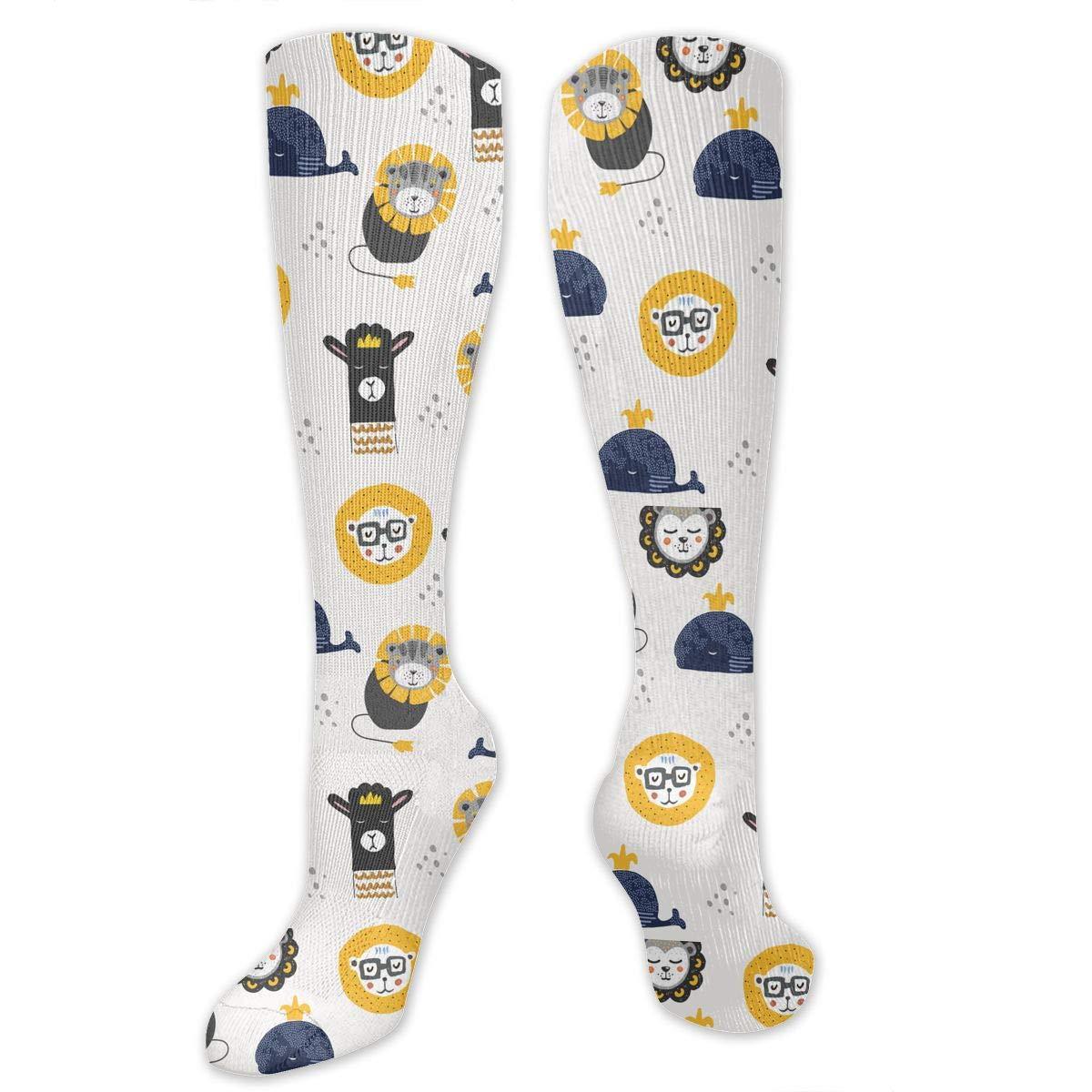 Unisex Lion,llama And Whale Pattern Knee High Compression Thigh High Socks Soft Socks