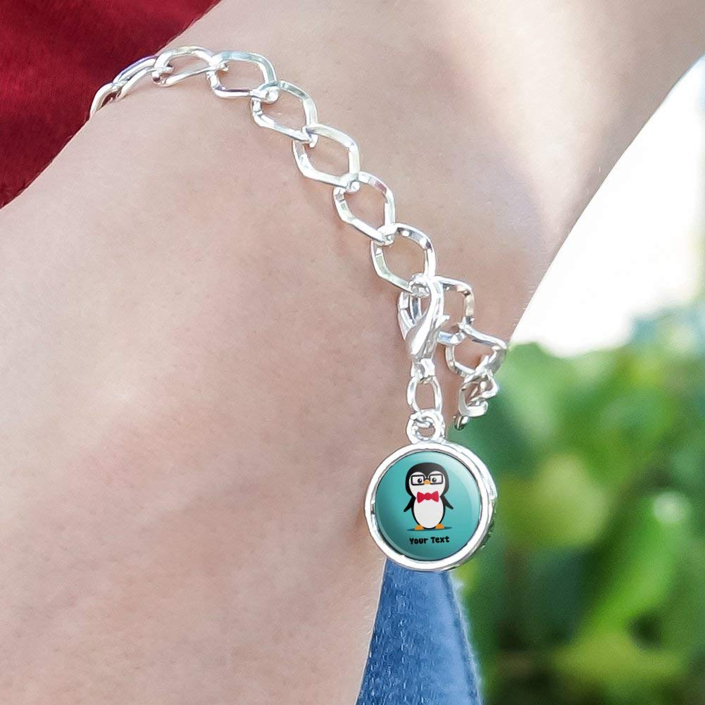GRAPHICS /& MORE Personalized Custom 1 Line Cute Nerdy Penguin with Glasses Silver Plated Bracelet with Antiqued Charm