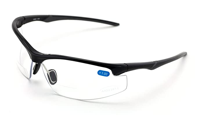 9f274f8b5a Amazon.com  V.W.E. Rx-Bifocal High Performance Sport Protective Safety Glasses  Bifocal - Clear Lens Reader Reading Glasses - Ansi Z87.1 Certified (Gloss  ...