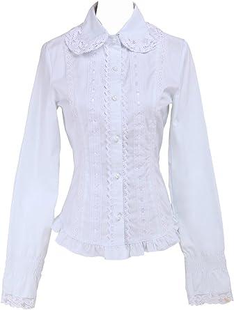 Blanca Algodón Volantes Encaje Classical Simple Victoriana Lolita Camisa Blusa de Mujer