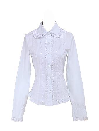 a5aca453969e4a Antaina White Cotton Ruffle Lace Classical Simple Victorian Lolita Shirt  Blouse