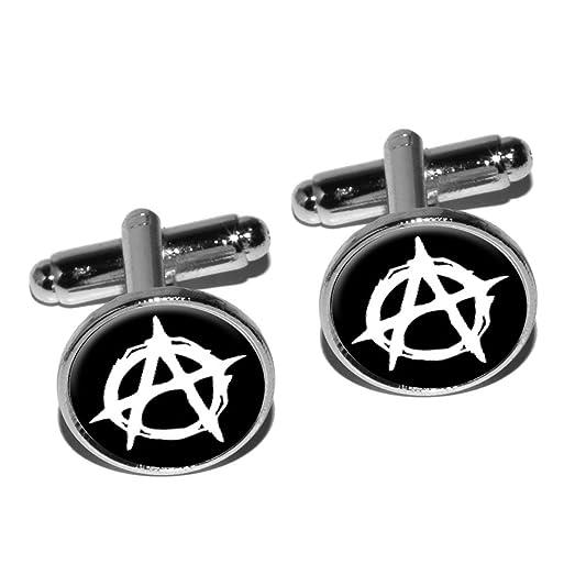 Amazon Anarchy Symbol Round Cufflink Set Silver Jewelry