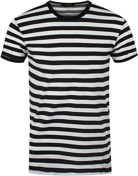 jeans Pastore Arrabbiarsi  Maglietta da uomo a righe bianche/nere: Amazon.it: Abbigliamento