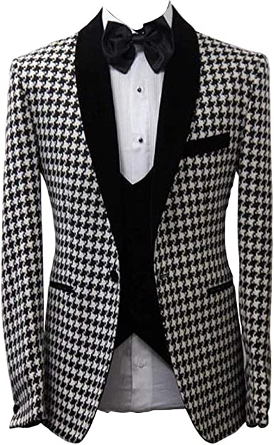 Men Suit Wedding Houndstooth Shawl Lapel Business Prom Party Dinner Tuxedos