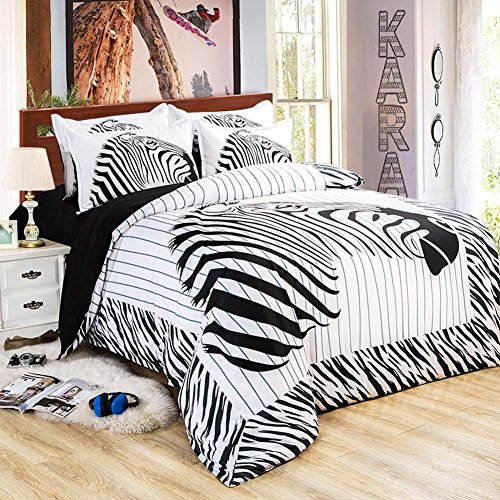 MeMoreCool Well-designed Cute Cartoon Car/Panda/Zebra/Pig/Cat Duvet Cover Set,Upscale 100% Cotton Kids Bedding Set,Soft Flat - Versace Zebra