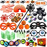 100 PCS Party Favors Toy Assortment for Kids Bulk Toys Including Magic Springs, Stampers, Yo-Yo balls, Vampire Teeth, Spider Rings, Wind Up Pumpkin, Eyeball Glasses for HalloweenPrizes Gift box