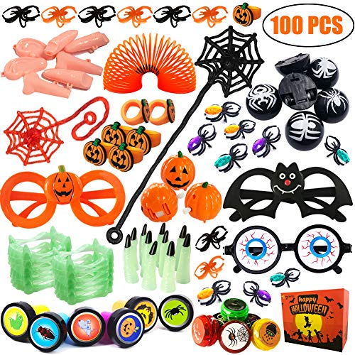 100 PCS Party Favors Toy Assortment for Kids Bulk Toys Pinata Fillers, Carnival Prizes, Classroom Rewards, Treasure Chest Toys, Goodie Bags, Fools Toys Gift box]()