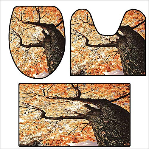 The Floor 3-Piece Bathroom Mat Set Body of Old Tree Seedling Botany Woodsy Roots Falling Maple Leaf Design for Orange Brown.Extra Soft Memory Foam Combo - Rug 19.6