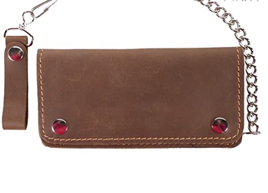 d230407a241 Image Unavailable. Image not available for. Color  Brown Leather Bifold  Chain Wallet