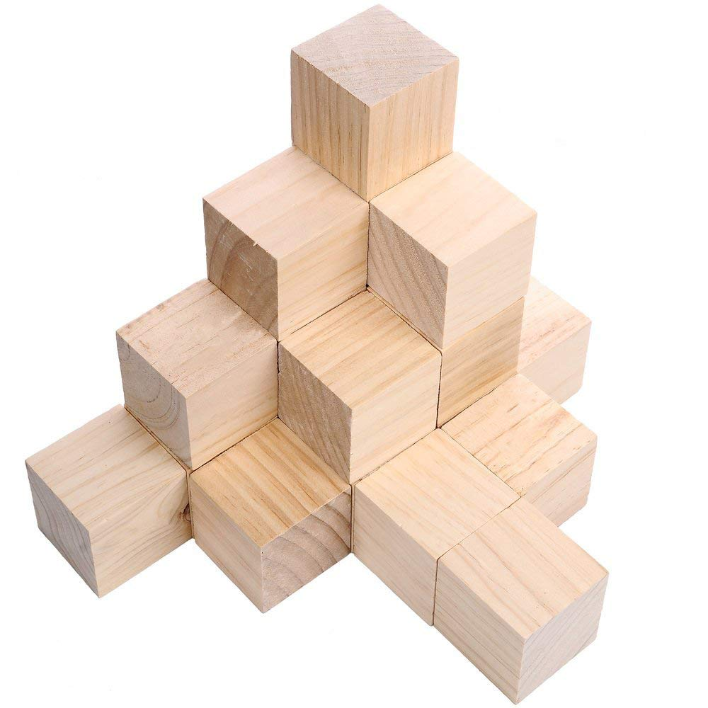 Supla 20pcs 2 inch Wooden Cubes Unfinished Wood Blocks for wood crafts, wooden cubes, wood blocks, Great for Baby Showers (20pcs)